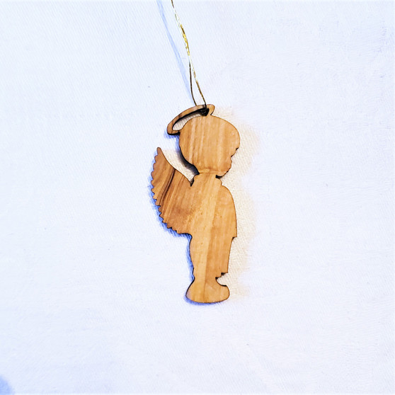 fair trade olive wood little boy angel ornament from the Holyland