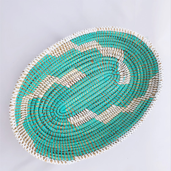 fair trade oval prayer mat basket bowl from Senegal
