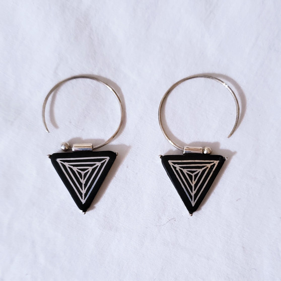 fair trade bidri silver inlay and zinc copper alloy earrings from india