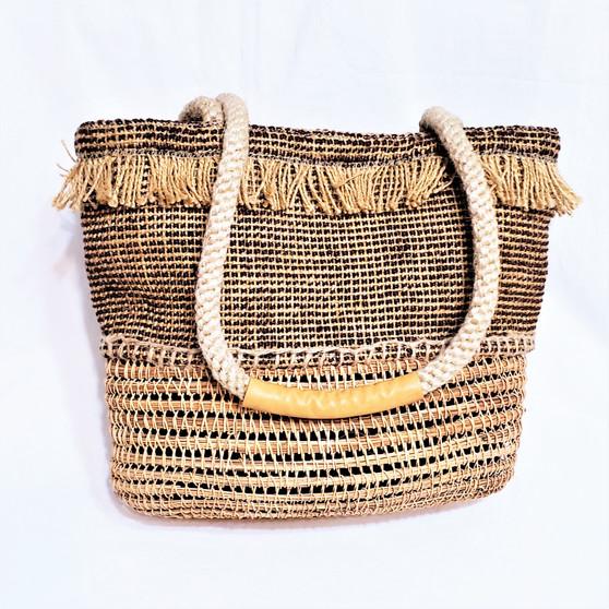 fair trade woven jute and rattan purse from Bangladesh