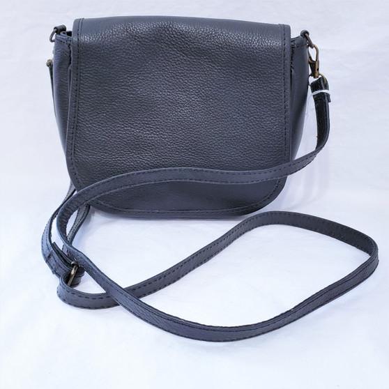 black leather cross body purse from Nepal