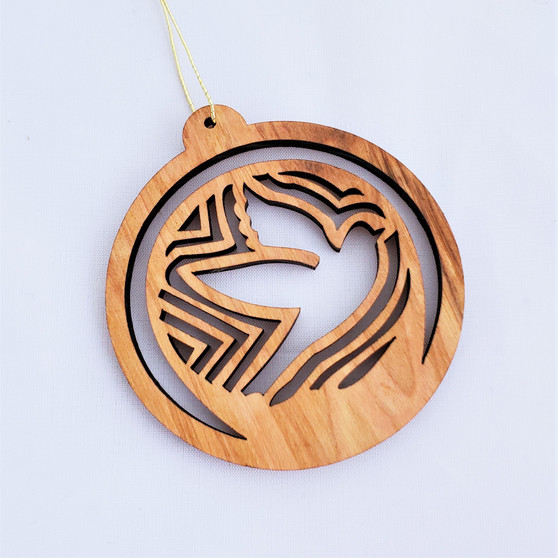 Fair trade olive wood cutwork dove ornament from the Holyland
