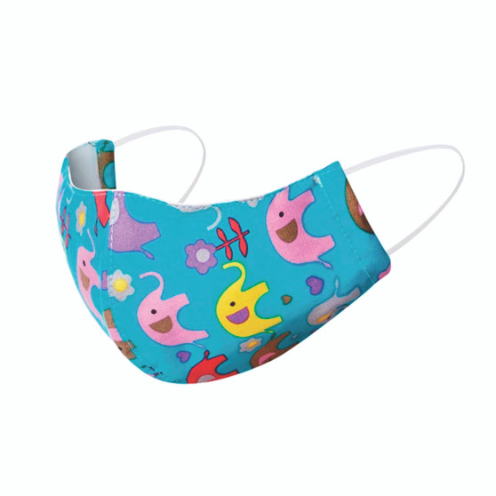 fair trade reusable cotton duck bill style face mask for kids with elastic ear bands from Thailand