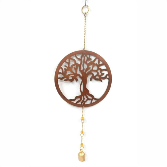 fair trade recycled metal tree of life chime from India