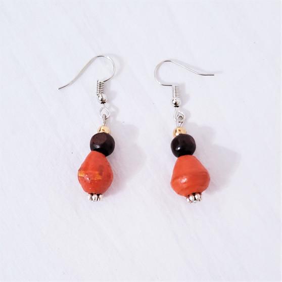 Fair trade paper bead earrings from Uganda