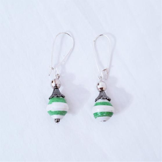 Fair trade rolled paper bead earrings from Uganda