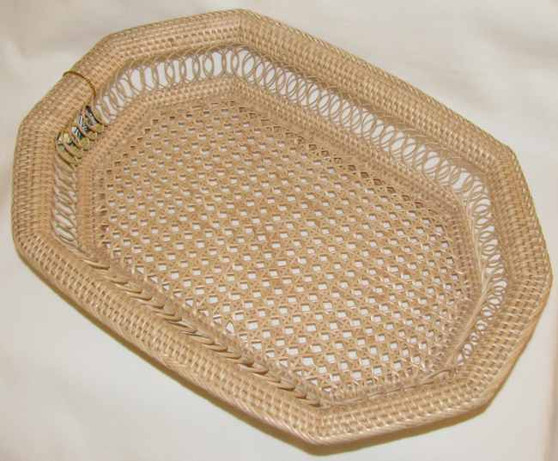 Fair Trade Woven Eight Sided Reed Basket from Cambodia