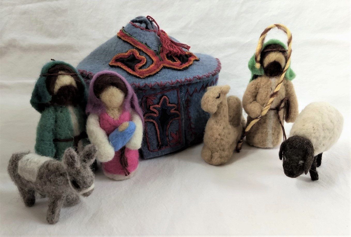 Needle Felted Nativity Set In Blue Yurt With Tush Kyiz Accents From Kyrgyzstan The Silk Road Fair Trade Market