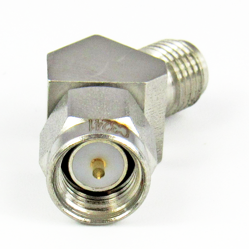 C3241 SMA M/F Swept 45 Degree Adapter  27Ghz VSWR 1.2  S Steel