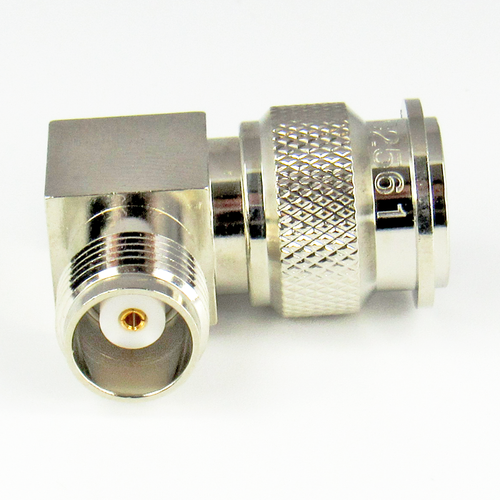 C2561 TNC Right Angle Adapter 11Ghz Male to Female VSWR 1.3 Brass