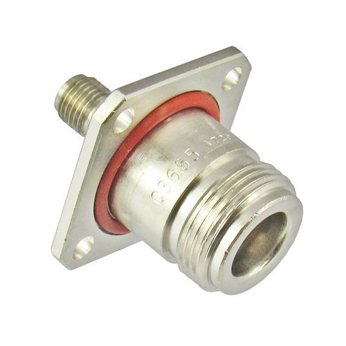C3655 N/Female to SMA/Female Flange Adapter Centric RF