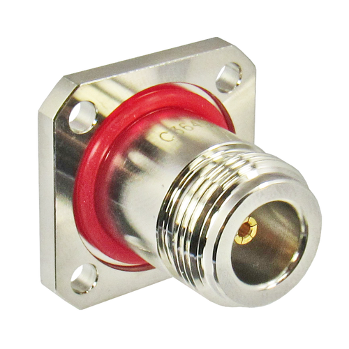 C3649 N/Female to SMA/Female Flange Adapter with O-Ring on N Side of flange Centric RF