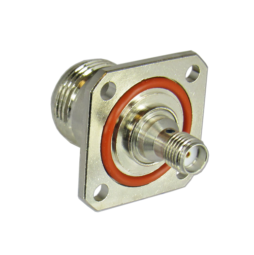 C3653 N/Female to SMA/Female Flange Adapter with O-ring on SMA side Centric RF