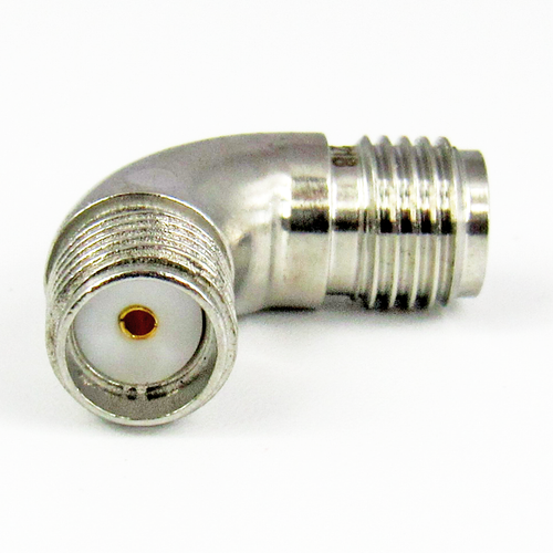 C3218 SMA F/F Swept Right Angle Adapter  VSWR 1.2 18Ghz; 1.4 26Ghz   S Steel