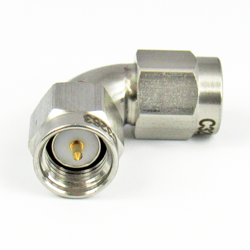 C3263 SMA Right Angle Adapter Male to Male 18Ghz VSWR 1.25; 1.4 25 Ghz S Steel