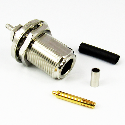 CX5637 N Female Bulkhead Connector for RG316 Cable Brass Solder Crimp Centric RF