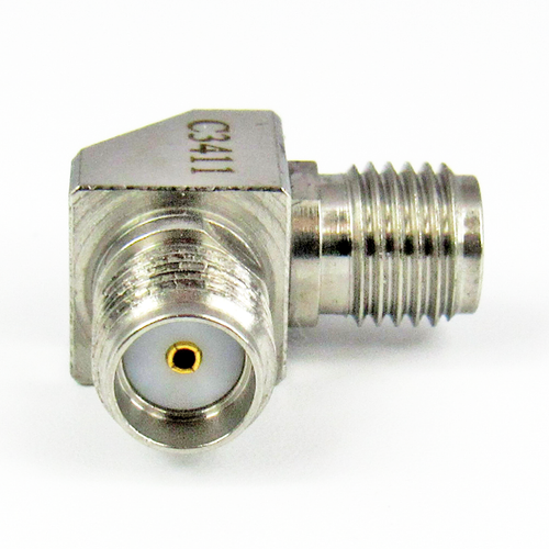 C3411 SMA F/F Swept Right Angle Adapter 27Ghz VSWR 1.15  S Steel