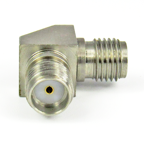 C3407 SMA F/F Right Angle Adapter 27Ghz VSWR 1.20  S Steel