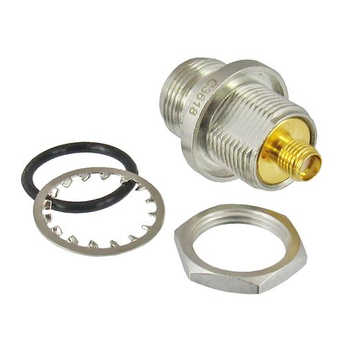 C3618 SMA Female to N Female Hermetic Bulkhead Adapter Centric RF