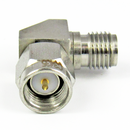 C3435 SMA Right Angle Adapter M/F 27Ghz VSWR 1.20  S Steel Clearance