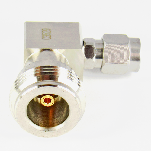 C3529 SMA Male to N Female R Angle Adapter 6 Ghz VSWR 1.15  S Steel