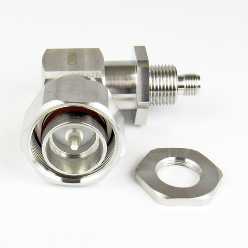 C8584 4.3/10 Male to SMA Female Right Angle Bulkhead Adapter  VSWR 1.30 6GHZ Low PIM 160Dbc