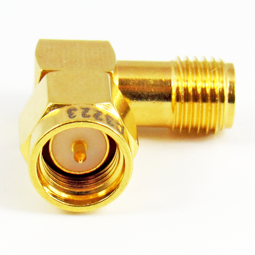C3223 SMA M/F Right Angle Adapter  VSWR 1.2 6Ghz Au Plated Brass