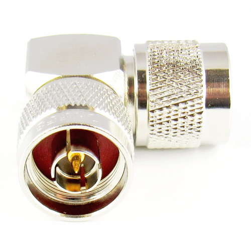 C5553 N Right Angle Adapter 11Ghz Male to Male VSWR 1.4 Brass