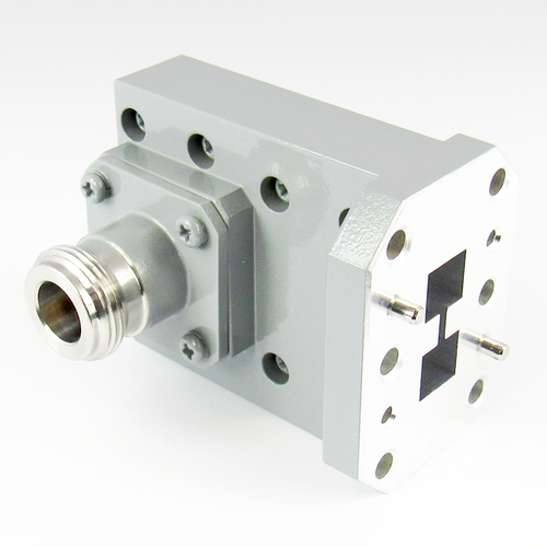 CWRD500N Double Ridge WR500 to N Waveguide to Coax Adapter Centric RF