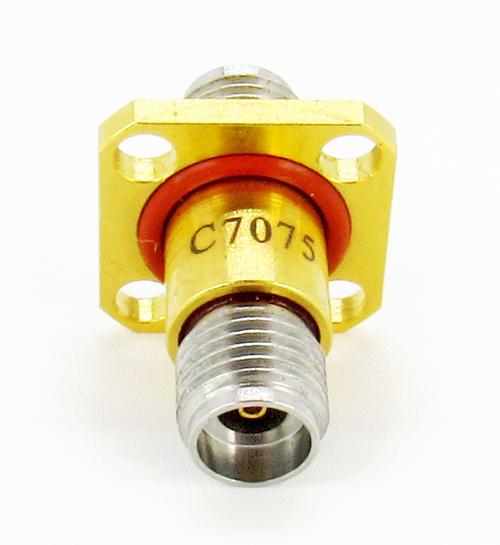 C7075 2.92mm Hermetic Flange Adapter F/F  1x10-8  & IP68 VSWR 1.4 40Ghz