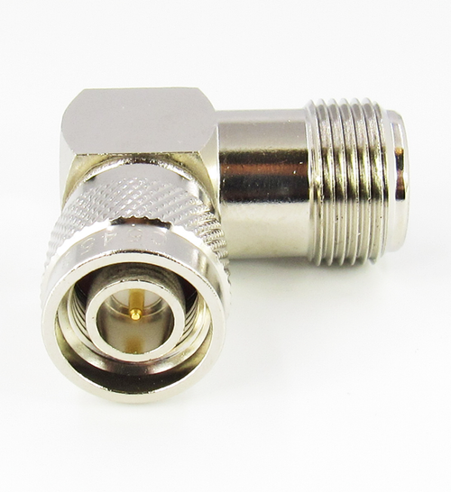 C5453 N Female to TNC Male Right Angle Adapter  VSWR 1.25 6Ghz; 1.4 11Ghz Brass