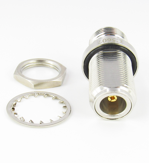 C5607 N  Bulkhead Adapter Female to Female 11Ghz  VSWR 1.2 max  Brass  50 Ohm IP67