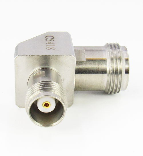 C5418  N Female to TNC Female Right Angle Adapter 18Ghz VSWR 1.25 S Steel