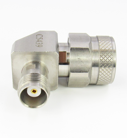 C5439 N Male to TNC Female Right Angle Adapter 18Ghz VSWR 1.25 S Steel
