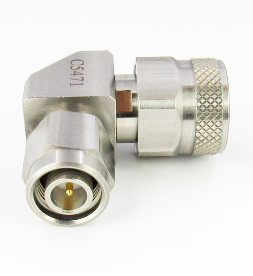 C5471 N Male to TNC Male Right Angle Adapter 18Ghz VSWR 1.25 S Steel