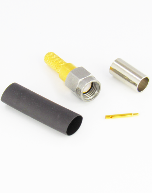 CX1951 SMA Crimp Connector for LMR195 Stainless Steel Gold Body