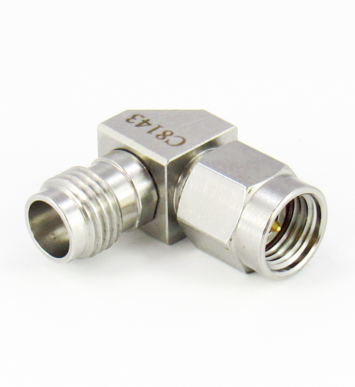 C8143 1.85mm Female to 2.92mm Male Right Angle Adapter Centric RF
