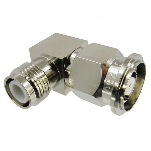 C9250 TNC Right Angle Adapter 6Ghz Male Reverse Polarity to Female Reverse Polarity VSWR 1.25 Brass