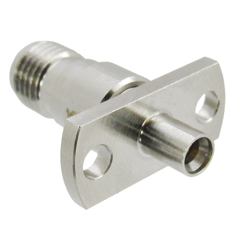 C4364 MiniSMP Male Full Detente to SMA Female 2 Hole Flange Adapter 18Ghz VSWR 1.2