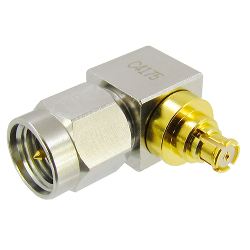 C4175 SMP Female to SMA Male RA Adapter VSWR 1.3 18Ghz S Steel