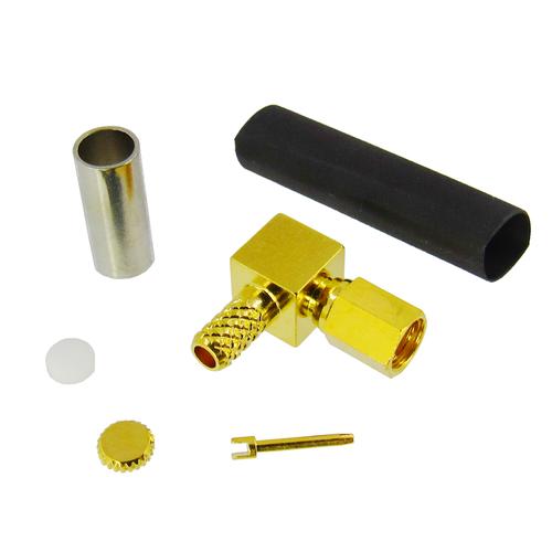 CX7567 SSMC Plug Right Angle Connector Solder/Crimp 086 RG316DS