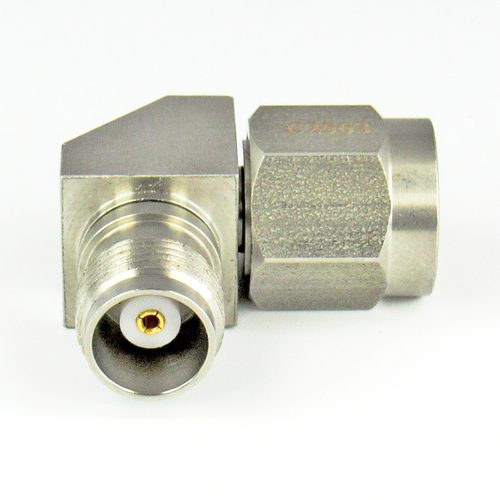 C2563 TNC Right Angle Adapter 18Ghz Male to Female VSWR 1.25  S Steel