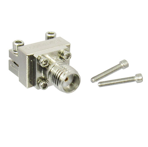 """292-07A-6  SMA  End Launch Conn. Low Profile 27ghz .005"""" Pin .029"""" Dielectric Dia PCB to .1"""" Block .5"""" W"""