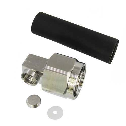 CX2507 2.2-5 Male Right Angle Connector for .250 Superflexible Corrugated Cable 6 Ghz VSWR 1.35