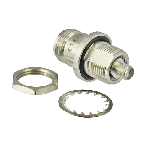 Copy of C3614 SMA Female to N Female Bulkhead Adapter 18Ghz VSWR 1.25 S Steel Clearance