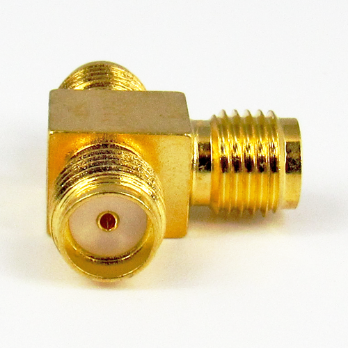 C3282 SMA T Adapter F-F-F 6Ghz 3-5 in-lbs Au Plated Brass