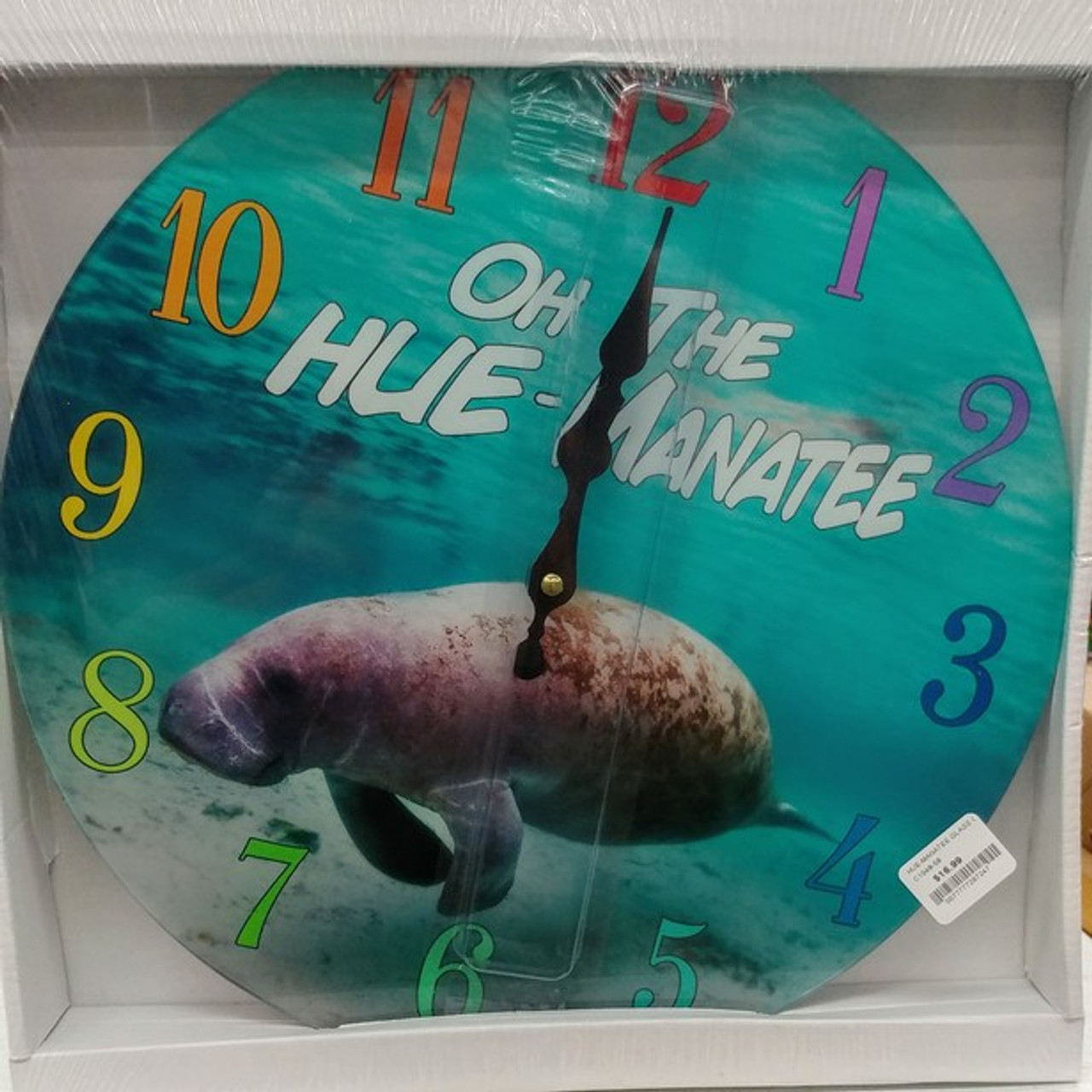 Glass Hue Manatee Clock