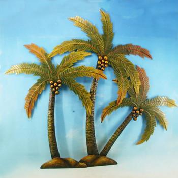 3 Palm Tree Metal Wall Decor