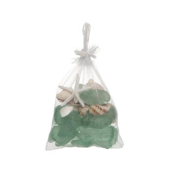 300 GRAM BAG SHELL AND GREEN BEACH GLASS - Set of 3
