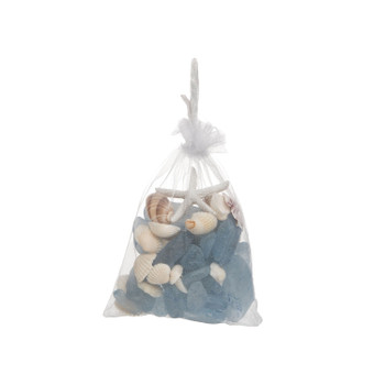 300 GRAM BAG SHELL AND BLUE BEACH GLASS - Set of 3